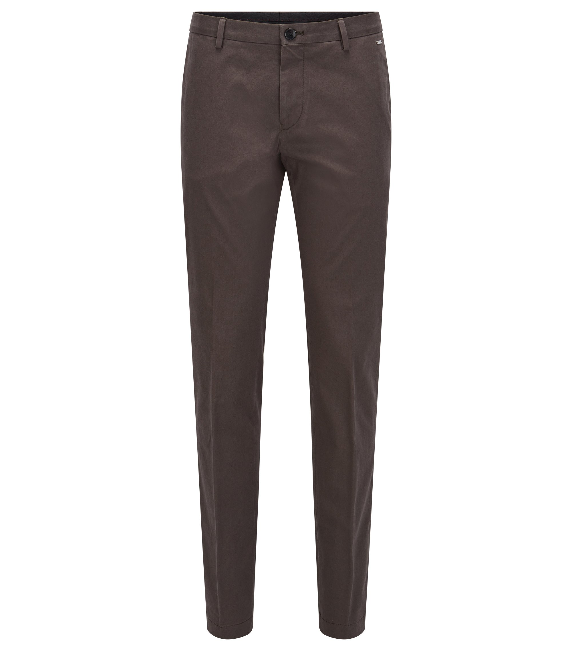 Slim-fit trousers in stretch cotton, Dark Green