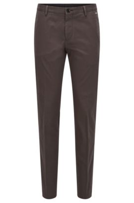 Pantalon Slim Fit en coton stretch, Vert sombre