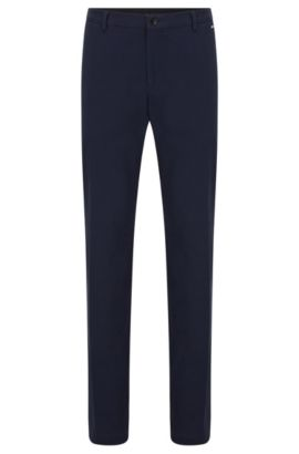 Pantalon Slim Fit en coton stretch, Bleu foncé
