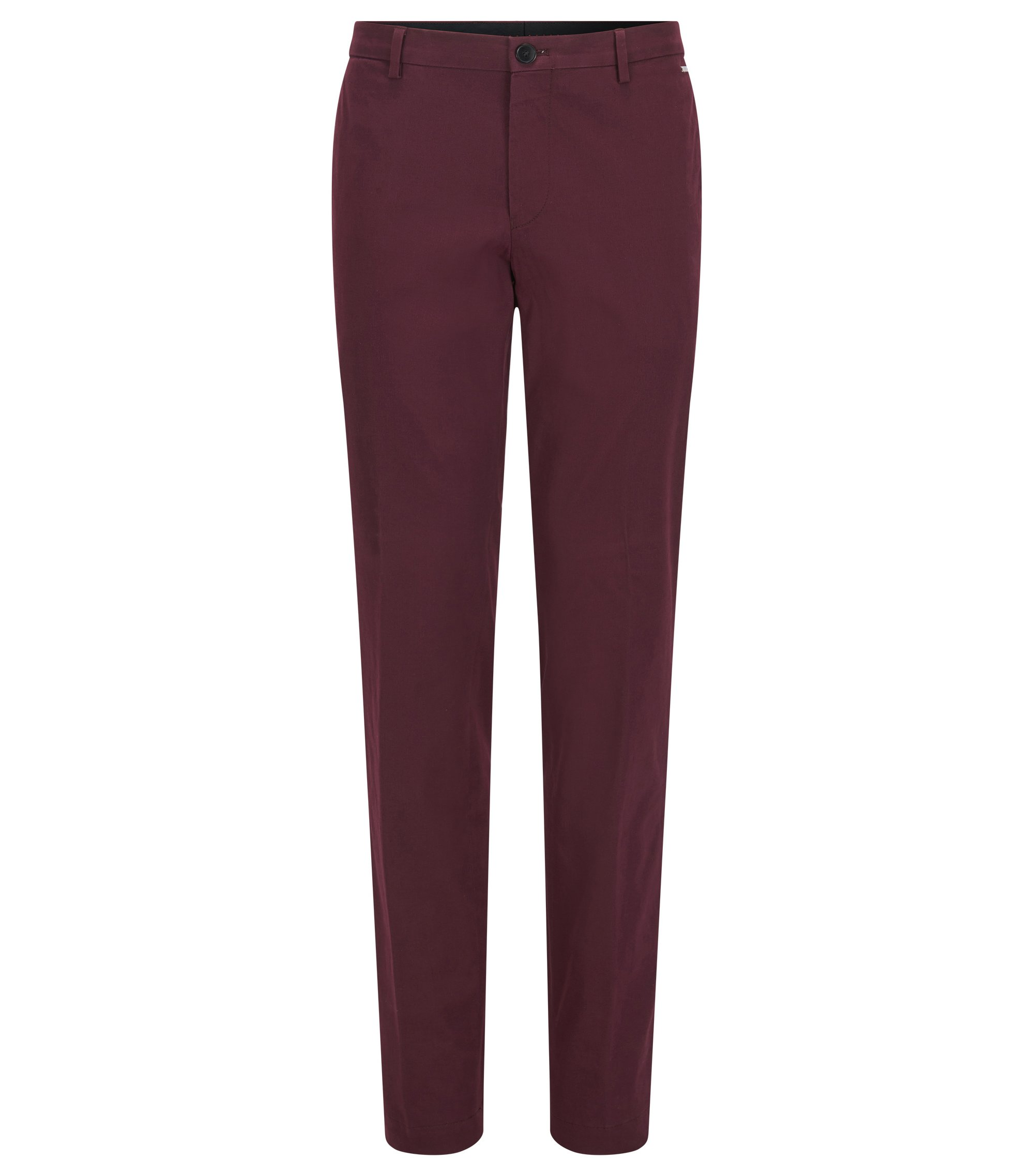 Pantalon Slim Fit en coton stretch, Rouge sombre