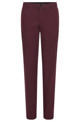 Slim-fit trousers in stretch cotton, Dark Red
