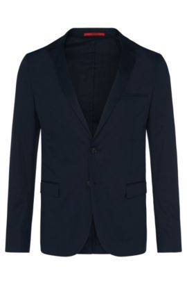 Slim-fit tailored jacket in stretch cotton: 'Anfred', Dark Blue