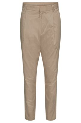 Chino Tapered Fit en coton extensible : « Hegart », Beige