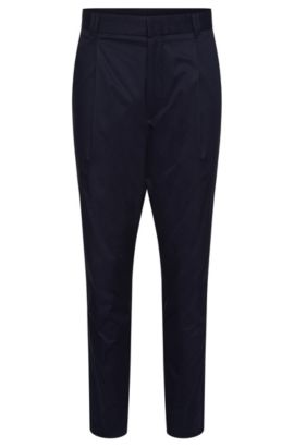 Tapered-fit chinos in stretch cotton: 'Hegart', Dark Blue