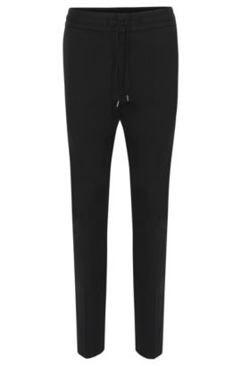 Tapered-fit trousers in stretch cotton with drawstring waistband: 'Himesh4', Black