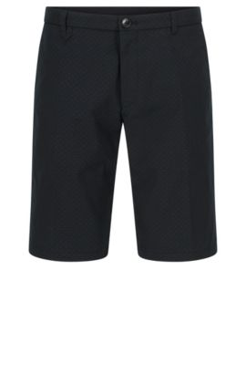 Polka-dot patterned slim-fit shorts in stretch cotton blend: 'Hano3', Black