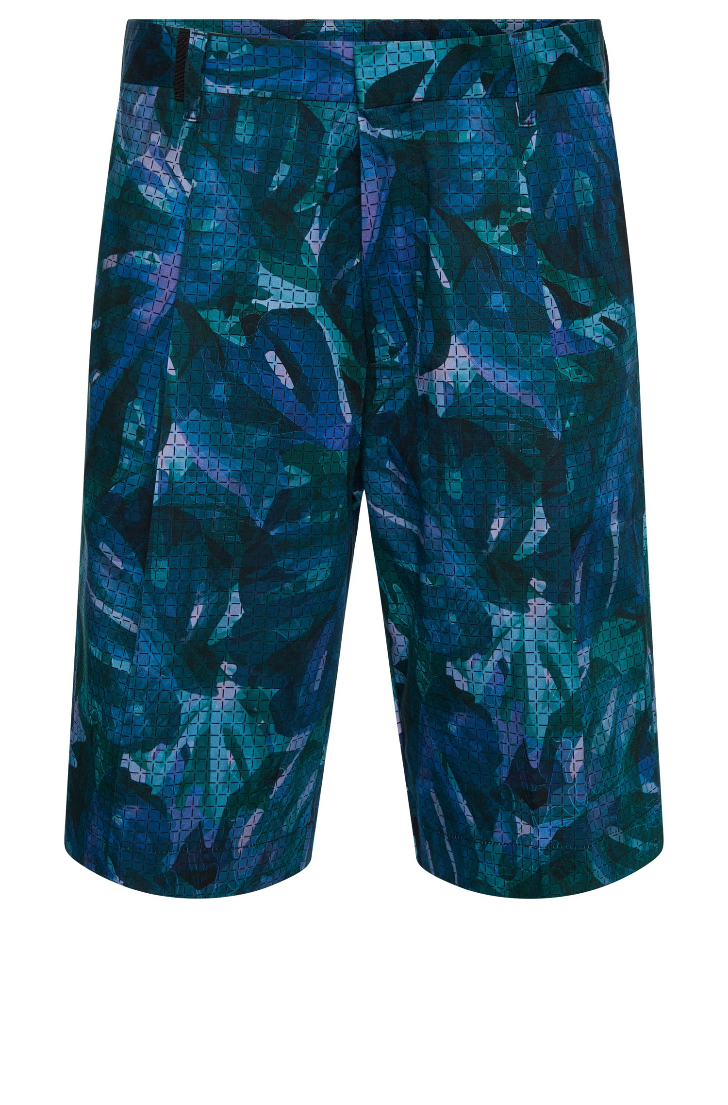 Patterned relaxed-fit shorts in stretch cotton: 'Himon'