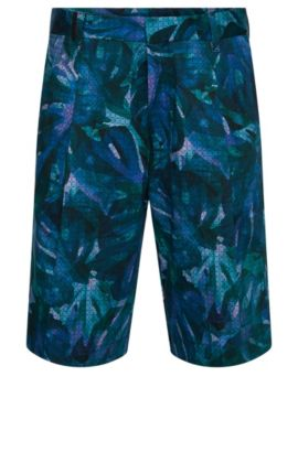 Patterned relaxed-fit shorts in stretch cotton: 'Himon', Patterned