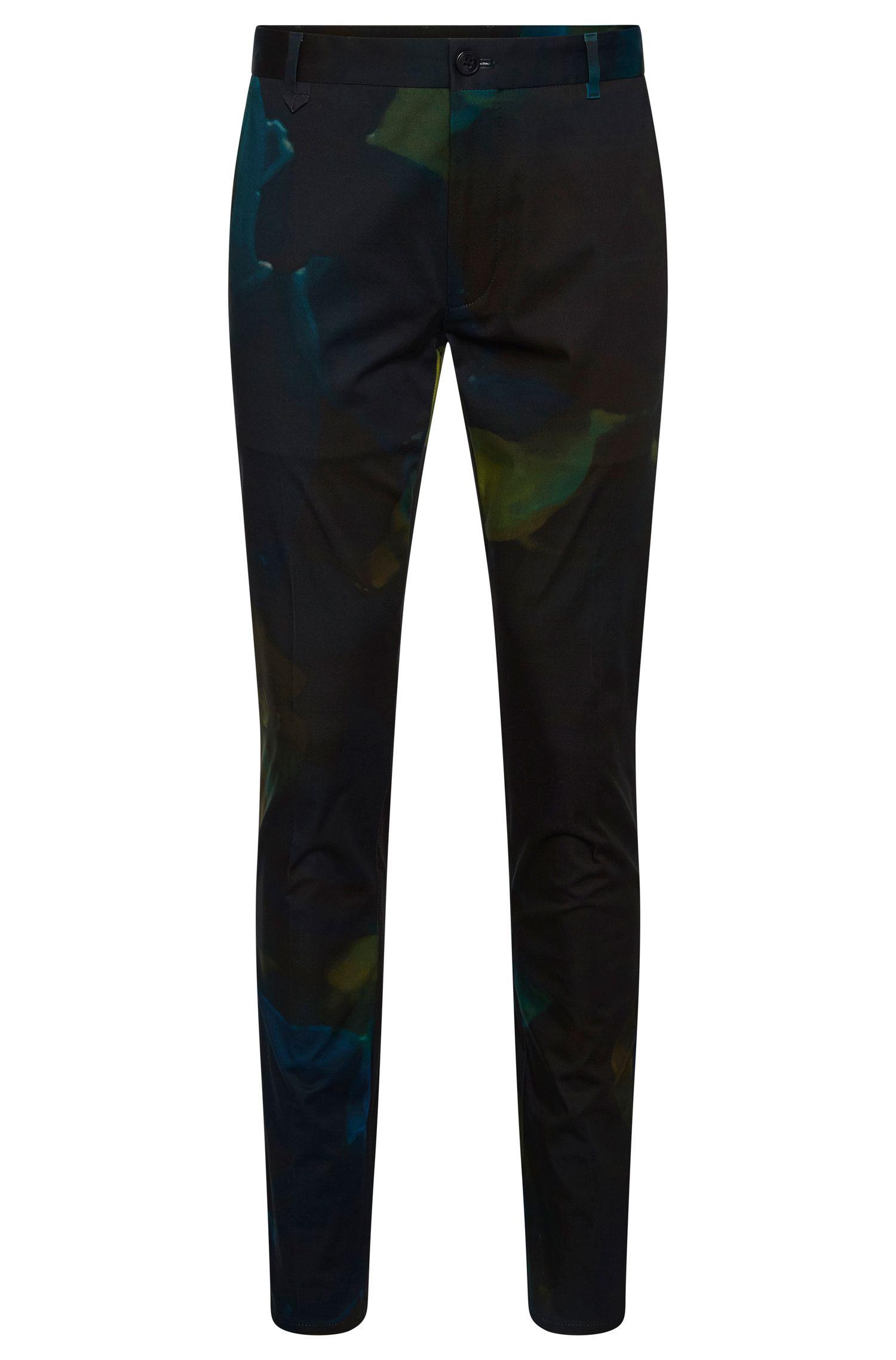 Slim-fit broek van stretchkatoen met dessin: 'Heldor2'