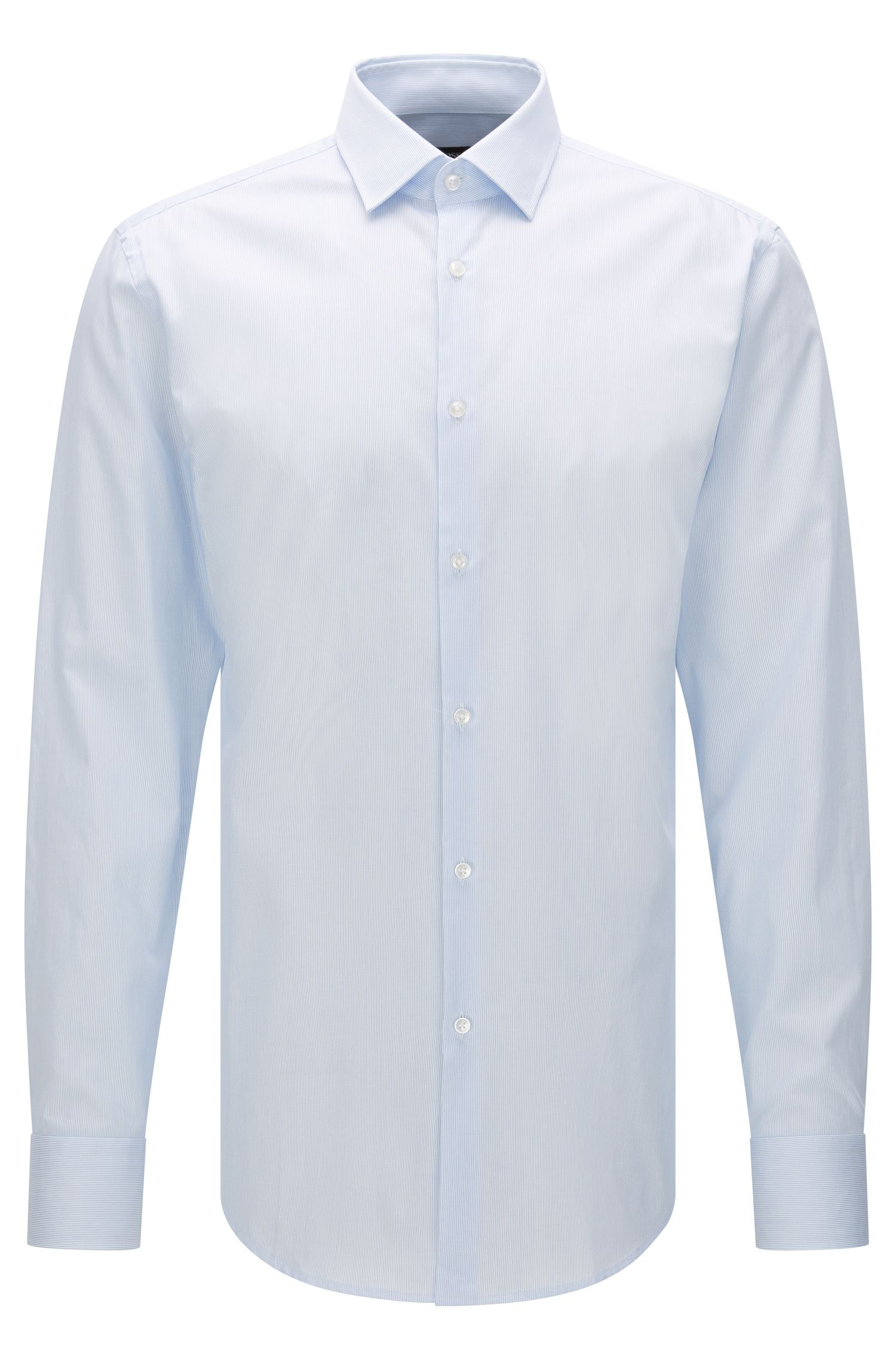 Finely striped slim-fit shirt in cotton: 'Jenno'
