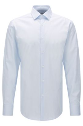 Finely striped slim-fit shirt in cotton: 'Jenno', Light Blue