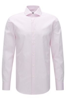 Finely striped slim-fit shirt in cotton: 'Jerrin', light pink