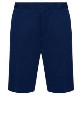 Shorts lisos slim fit en algodón elástico: 'Hano3', Azul