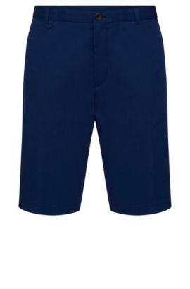 Plain slim-fit shorts in stretch cotton: 'Hano3', Blue