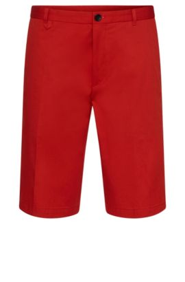 Plain slim-fit shorts in stretch cotton: 'Hano3', Red
