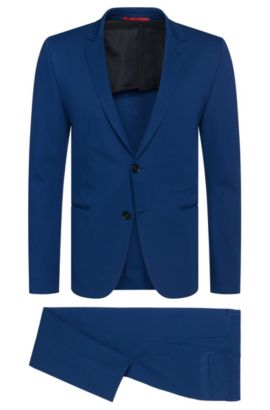 Slim-fit suit in stretchy viscose blend with open hems: 'Arsey1/Hyns1', Blue