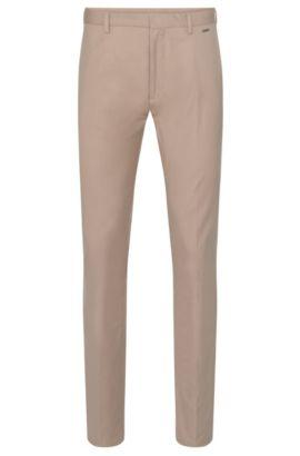 Pantalón regular fit en mezcla de algodón elástico con textura: 'Helgo1', Beige