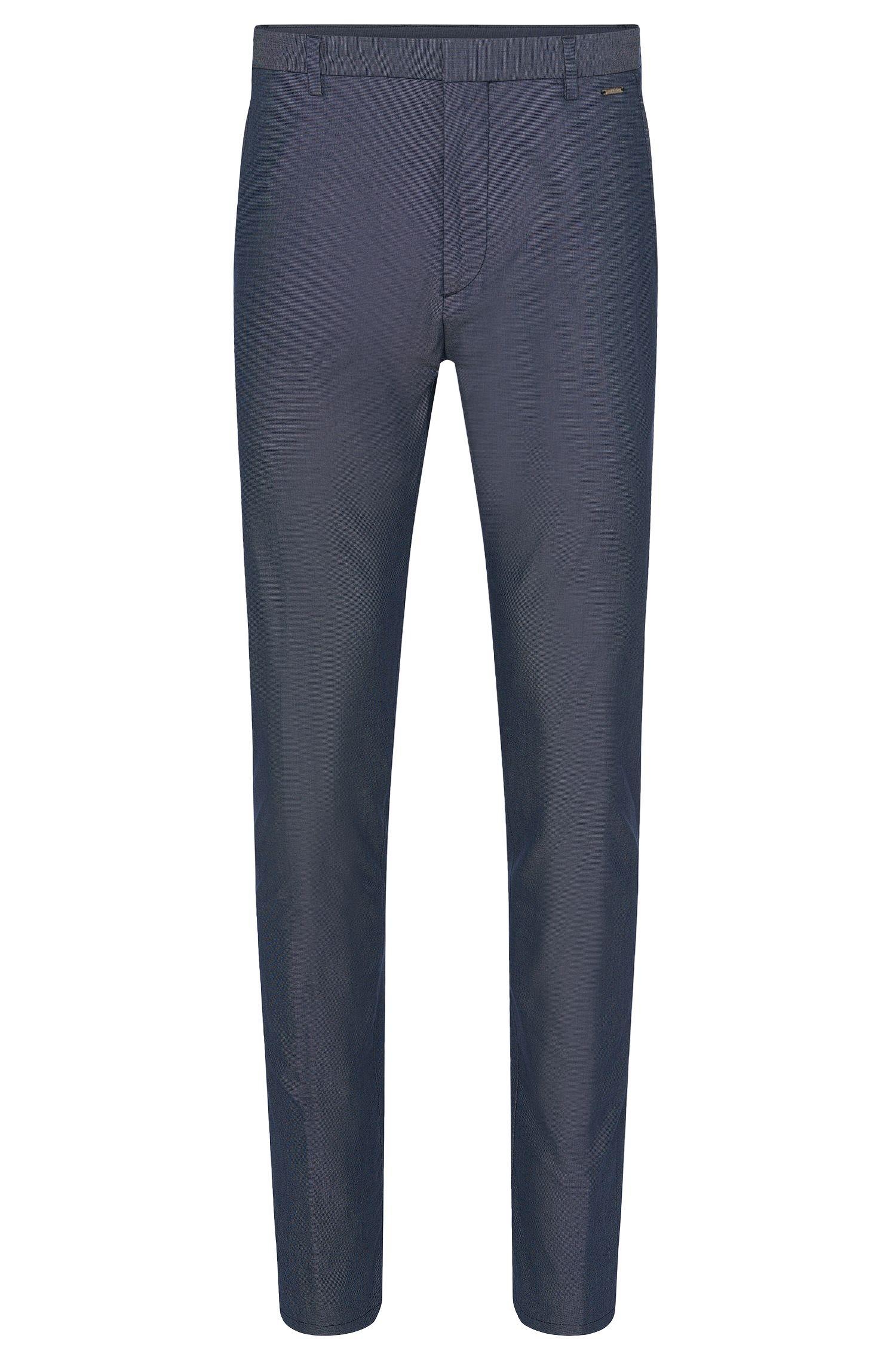 Pantalón regular fit, confeccionado en mezcla de algodón elástico con un fino estampado: 'Helgo1'