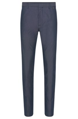 Finely patterned regular-fit trousers in stretch cotton blend: 'Helgo1', Dark Blue