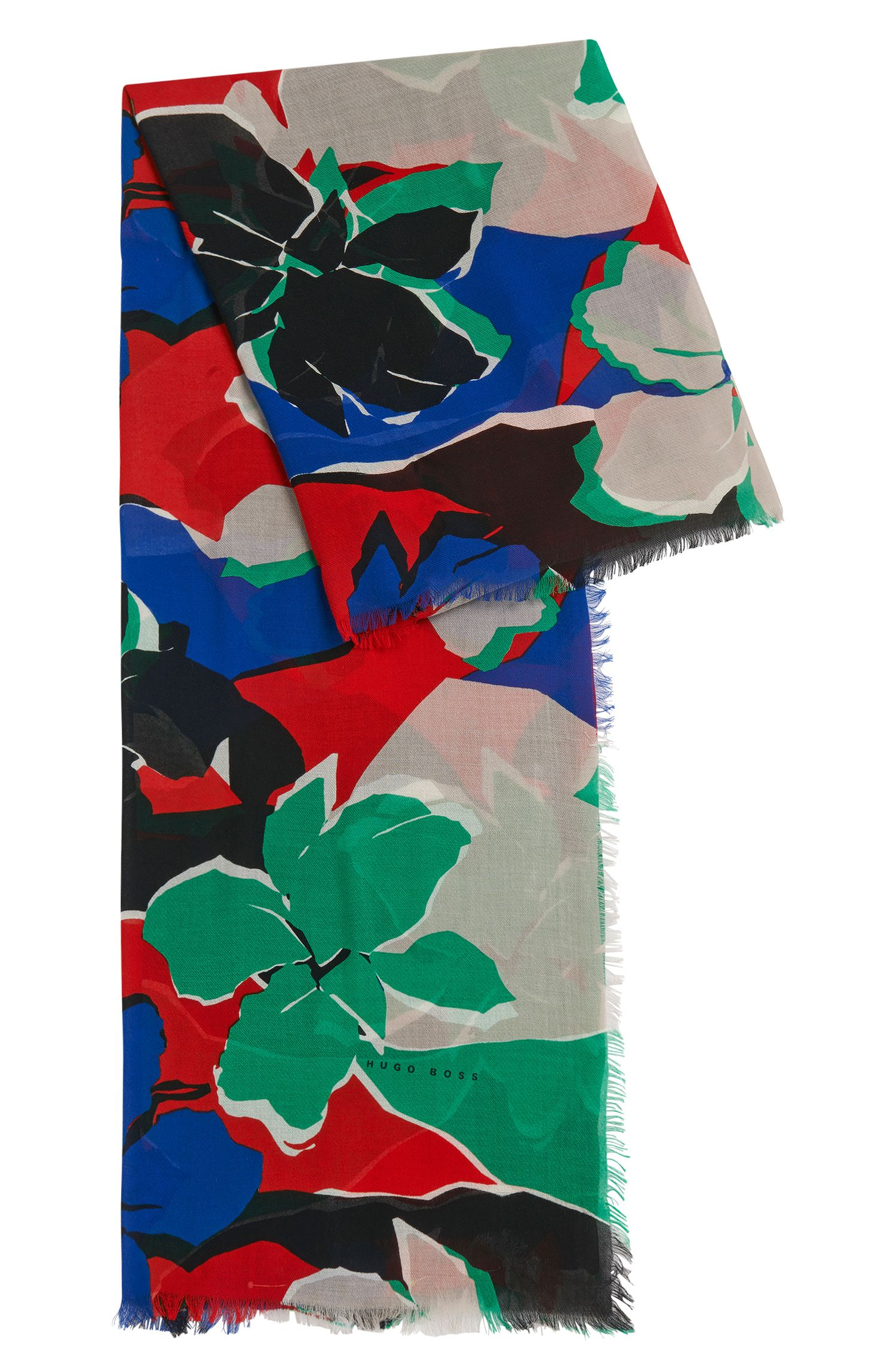 Patterned scarf in soft cotton blend with modal: 'Lemina'