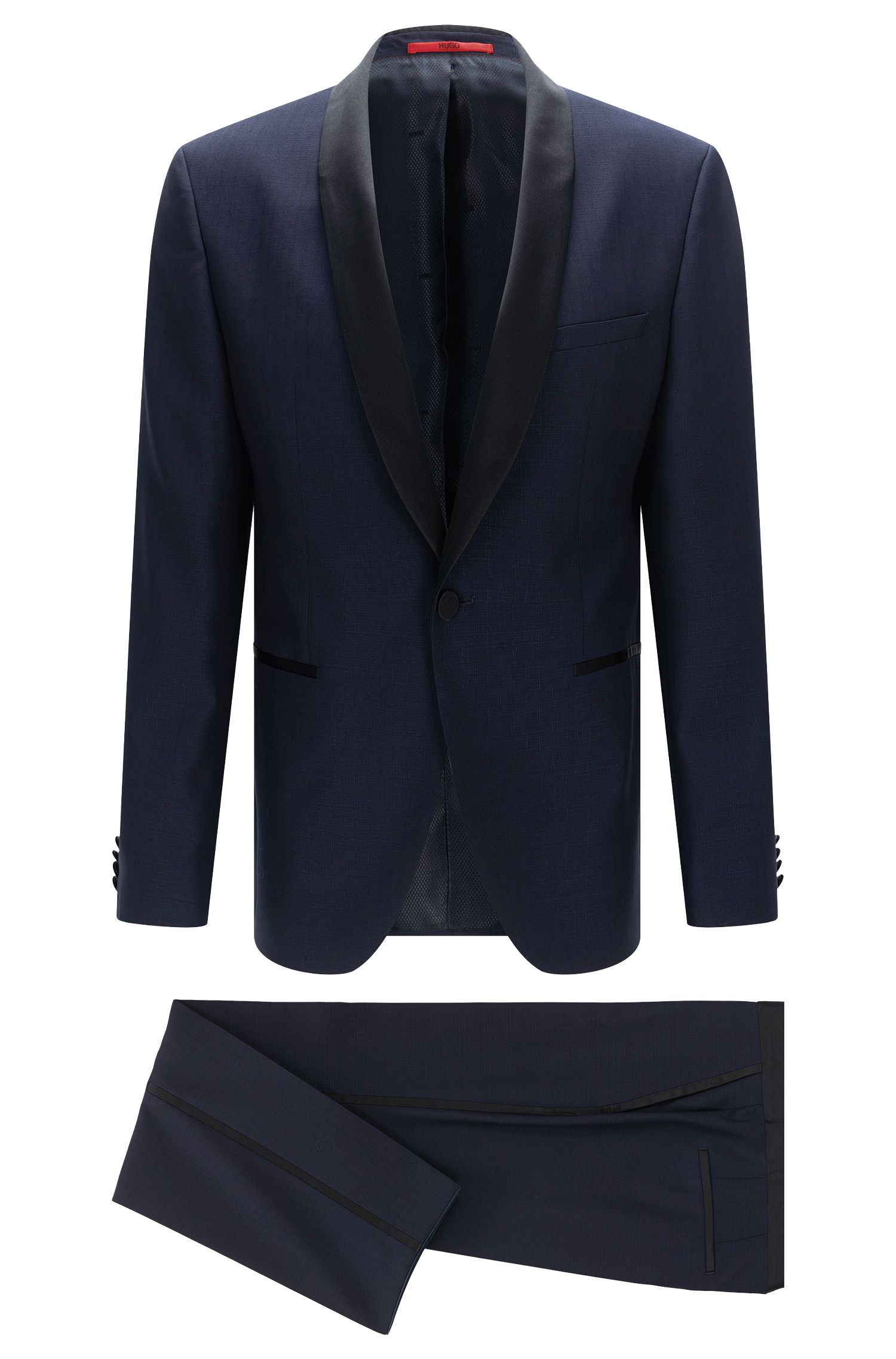 Regular-fit dinner suit in new wool with contrasting details: 'C-John/C-Saimen'