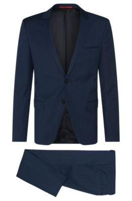 Traje estampado slim fit en mezcla de lana virgen con algodón: 'Arti/Heilon', Azul