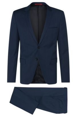 Patterned slim-fit suit in new-wool blend with cotton: 'Arti/Heilon', Blue