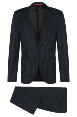 Checked extra slim-fit suit in new-wool blend with cotton: 'Adris4/Heilon', Black