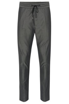 Pantalon chiné Tapered Fit en laine vierge mélangée, avec du coton: «Himesh4», Noir