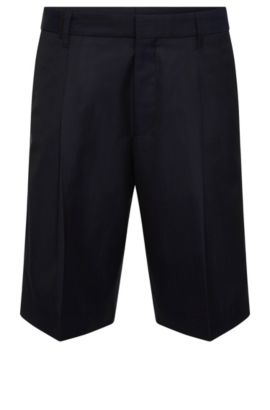 Relaxed-fit shorts in new-wool blend with cotton: 'Himon', Dark Blue