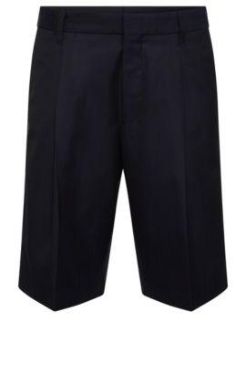 Short Relaxed Fit en laine vierge mélangée à du coton: «Himon», Bleu foncé