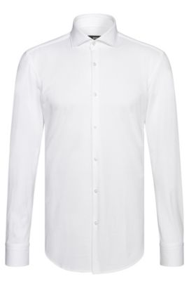 Finely textured slim-fit shirt in cotton: 'Jason', White
