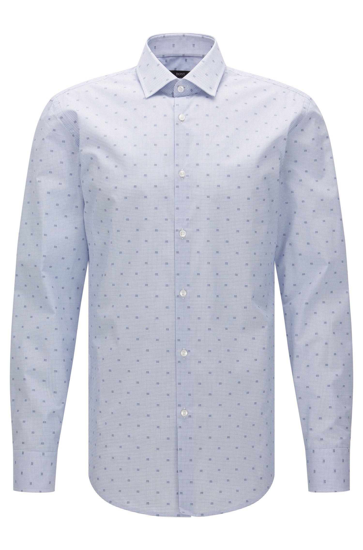 Slim-fit overhemd van katoen met dessin: 'Jenno'