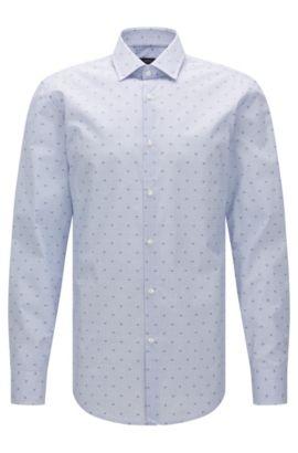 Camisa slim fit estampada en algodón: 'Jenno', Azul