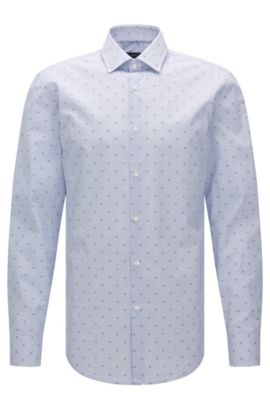 Camicia slim fit in cotone a disegni: 'Jenno', Blu