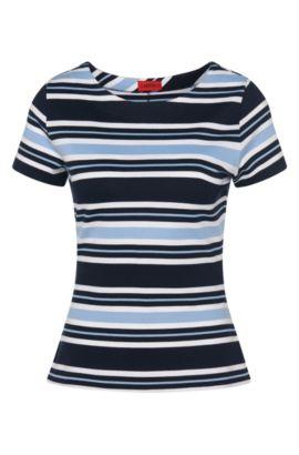 Gestreiftes T-Shirt aus elastischem Viskose-Mix: 'Neilea', Hellblau