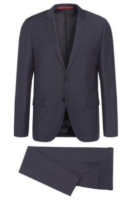 Slim-Fit Anzug aus Schurwolle mit Steppnähten: 'Ardo/HemarHM', Dunkelblau