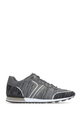 Trainers in knitted material blend: 'Parkour_Runn_sykn', Dark Grey