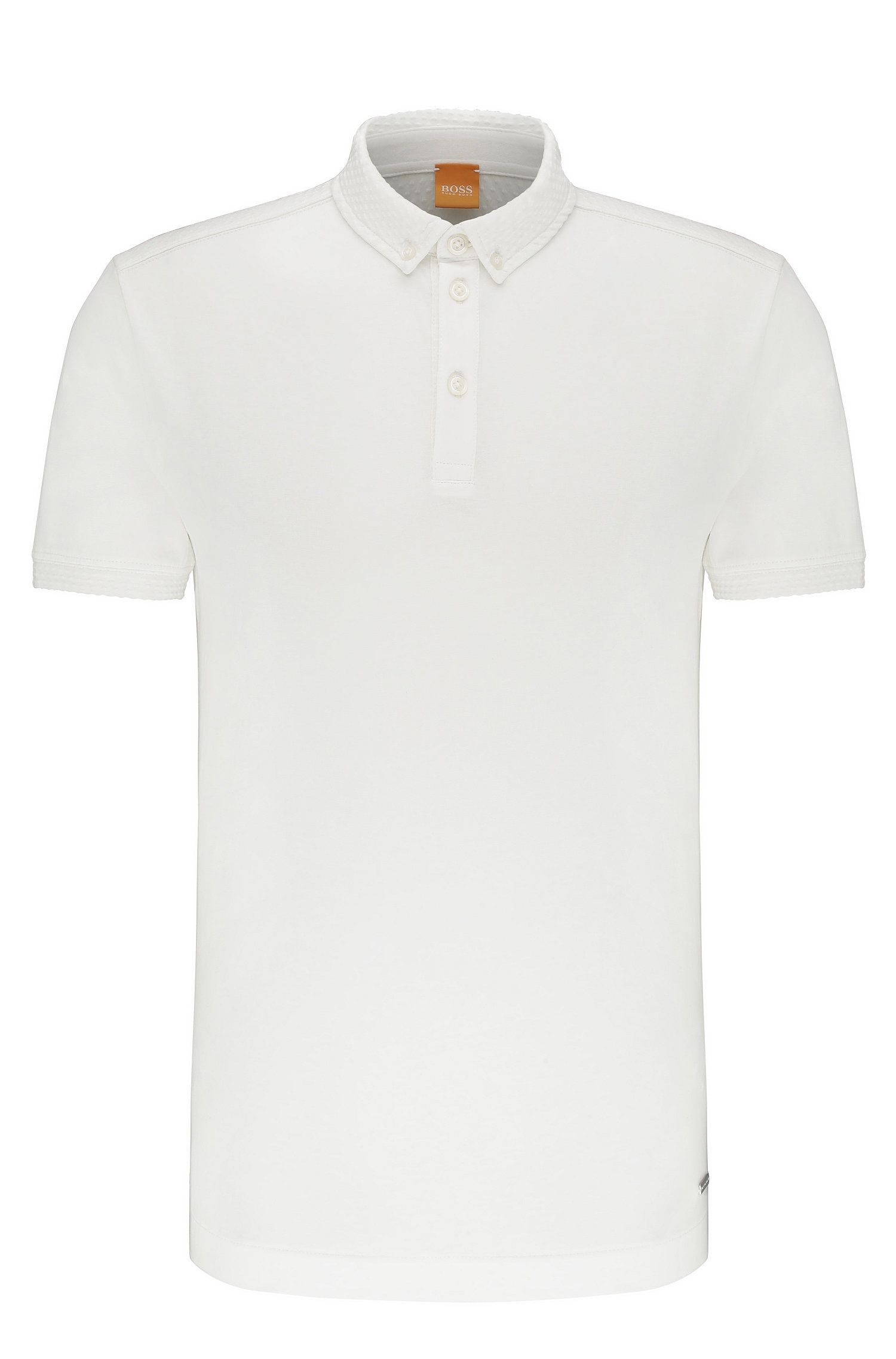 Regular-fit polo shirt in cotton with a knobbly texture: 'Punchy'