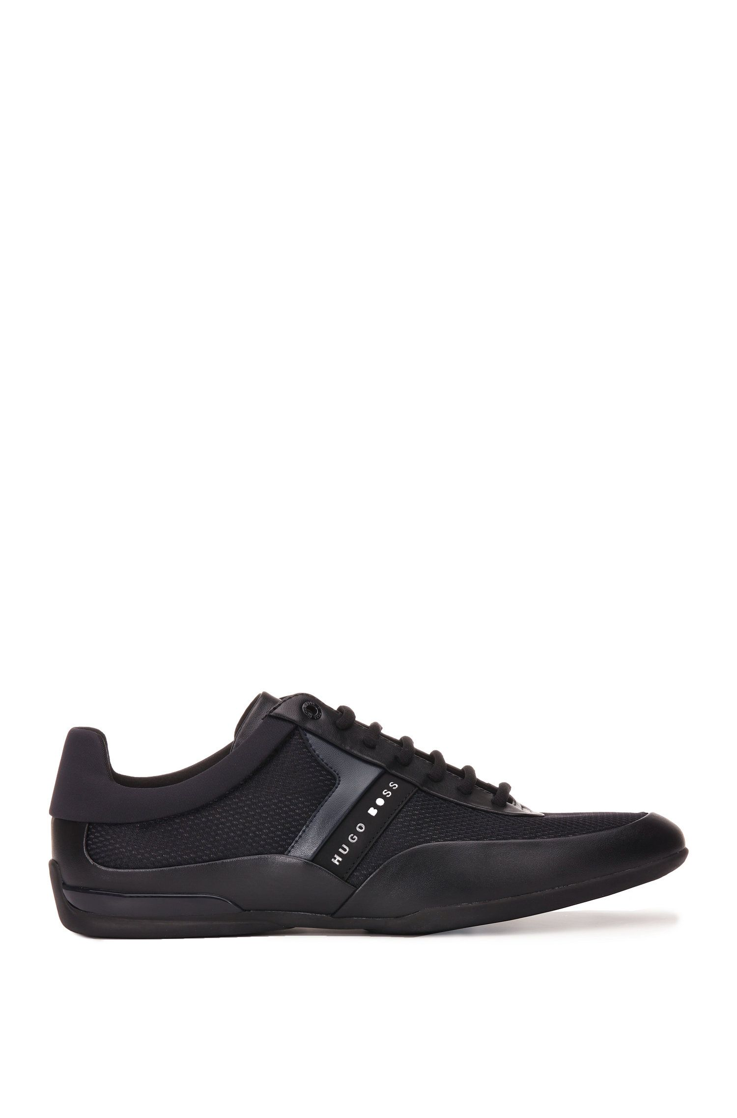 Trainers in material mix with leather trim: 'Space_Lowp_nyme'
