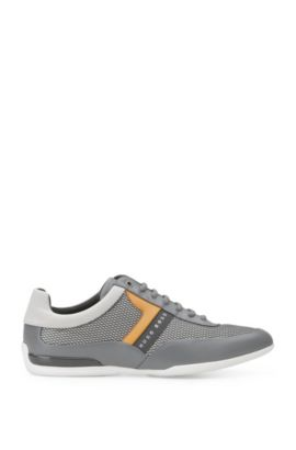 Trainers in material mix with leather trim: 'Space_Lowp_nyme', Grey