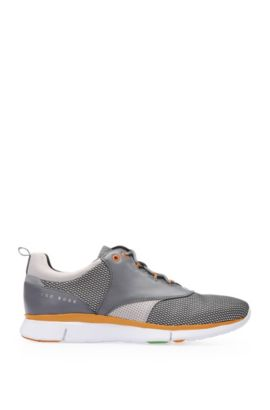 Trainers in leather and textile: 'GYM_Runn_nyme', Grey