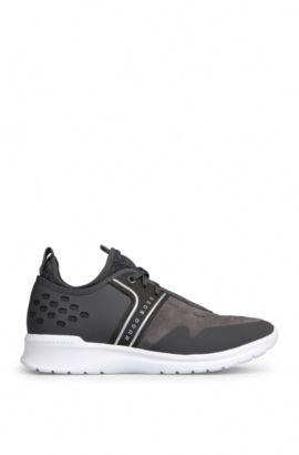 Trainers in a material mix of leather and textile: 'Extreme_Runn_sdmx', Dark Grey