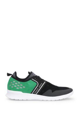 Geperforeerde sneakers van suède met textiel: 'Extreme_Runn_sd', Zwart