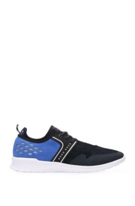 Perforated suede trainers with textile: 'Extreme_Runn_sd', Open Blue