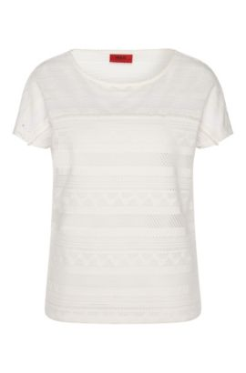 T-shirt with cutwork embroidery: 'Dellace', Natural