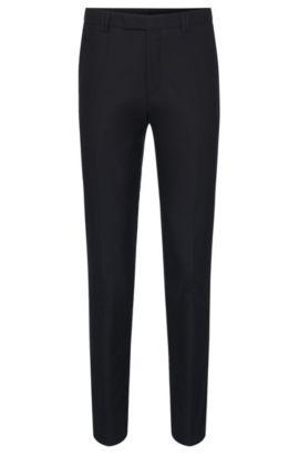 Textured slim-fit trousers in stretchy cotton blend: 'Heilon', Dark Blue