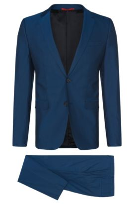 Patterned slim-fit suit in stretchy cotton blend: 'Astian/Hets', Dark Blue