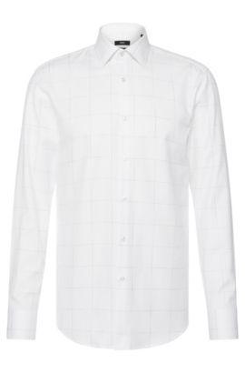 Camisa slim fit de cuadros en algodón: 'Jenno', Blanco