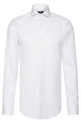 Finely checked slim-fit shirt in cotton: 'Jason', White